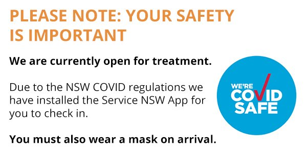covid message and NSW Covid logo